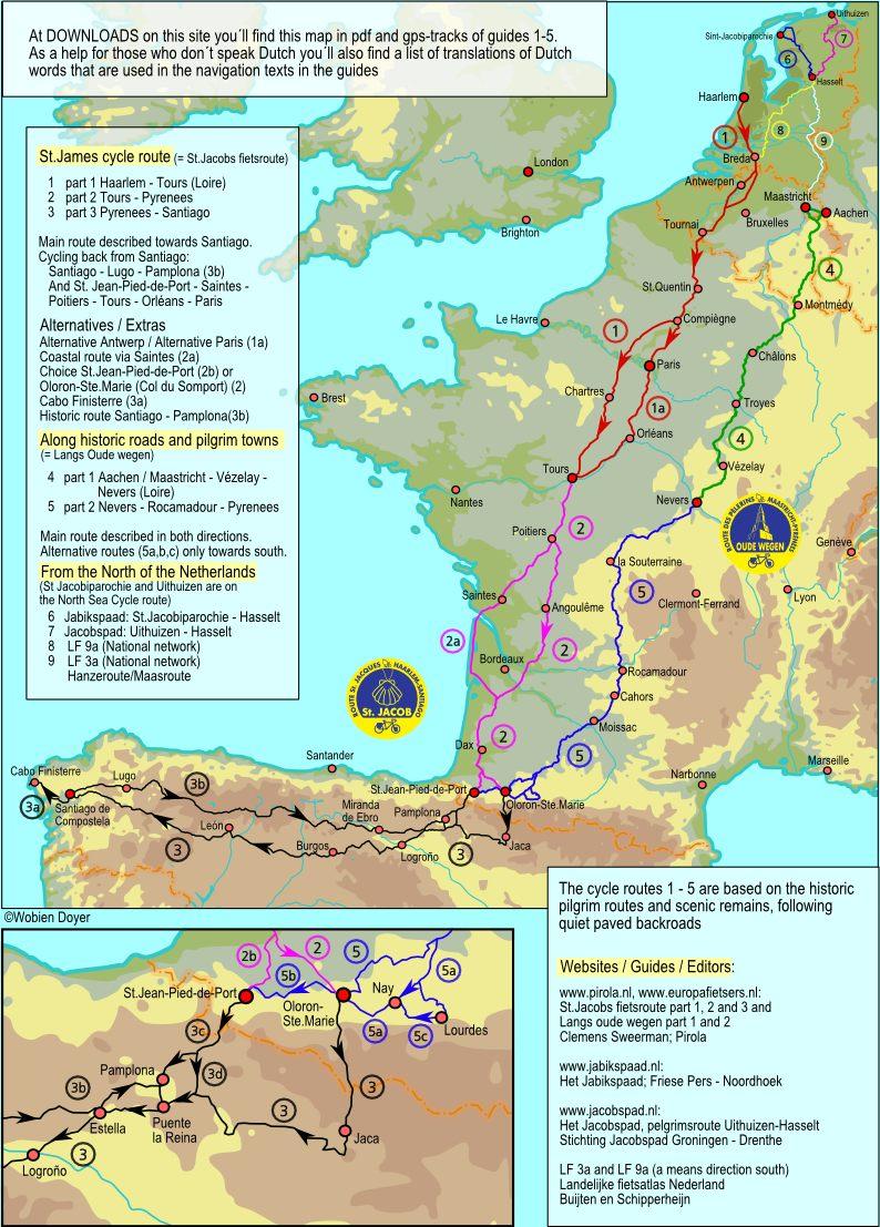 Cycling routes to Santiago de Compostela